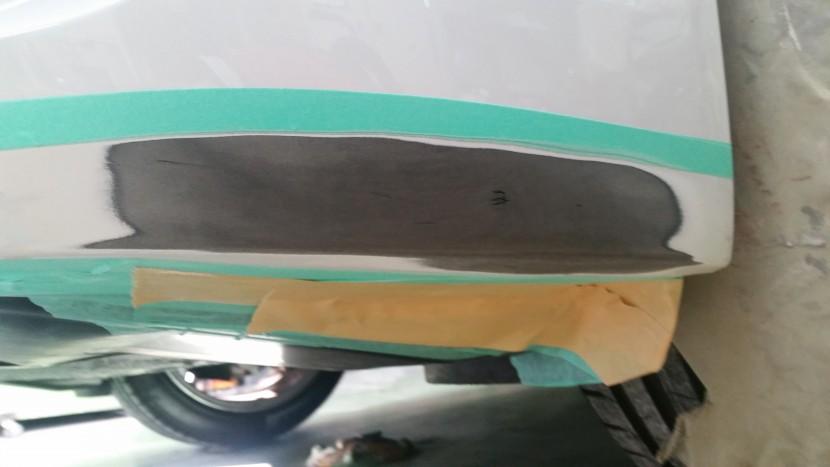 傷の部分を修理するために削り終わった写真