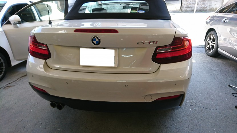 BMW2シリーズのリアバンパーキズ凹みチェック