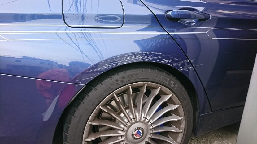 BMW・アルピナ【ストライプテープは高額!】なんとか交換せずに格安修理